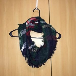 Accessories - Soft knit multi-colored infinity scarf with fringe